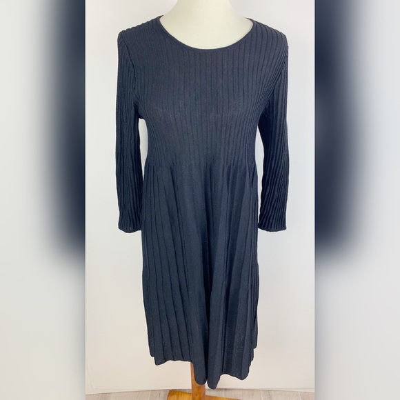 Eileen Fisher Dresses & Skirts - Eileen Fisher Black Basic Long-sleeve Dress 3311